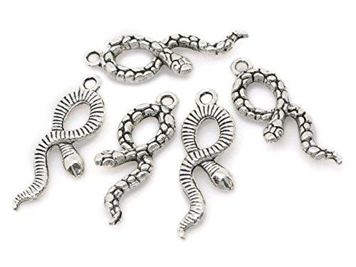 10/x Schlange Schlange Harry Potter 3D Tibetisches Silber Charms Anh/änger Beads