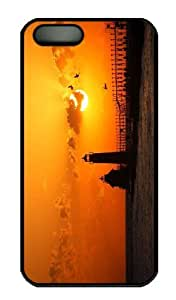 iPhone 5S Case - Customized Unique Design Lighthouse At Sunset New Fashion PC Black Hard by Maris's Diary