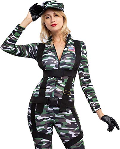 Spooktacular Creations Halloween Women Paratrooper Army Jumpsuit, Military Camouflage Costume w/Hat, Gloves and Harness (Medium)