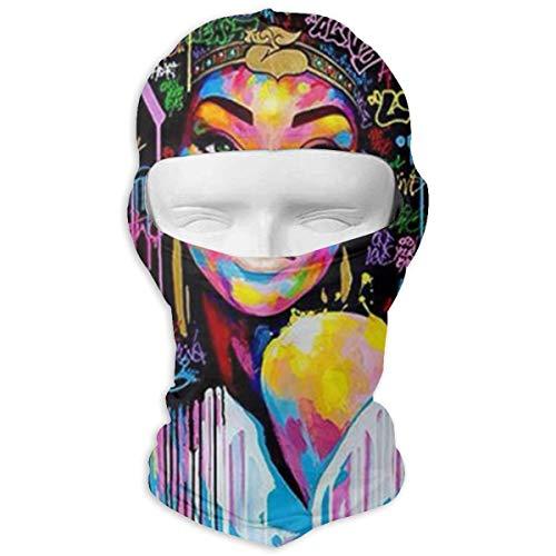 Rainbow Magnet Afro Girl Balaclava - Windproof Ski Mask - Motorcycle Full Face UV Protection Mask