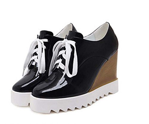 Muffins Casual Pumps Shoelaces Shoes Simple Shoes Eu Onfly 35 Wedge Thick Fasion Black Leather Platform Heels 40 Lady Size Swdzq7ntq