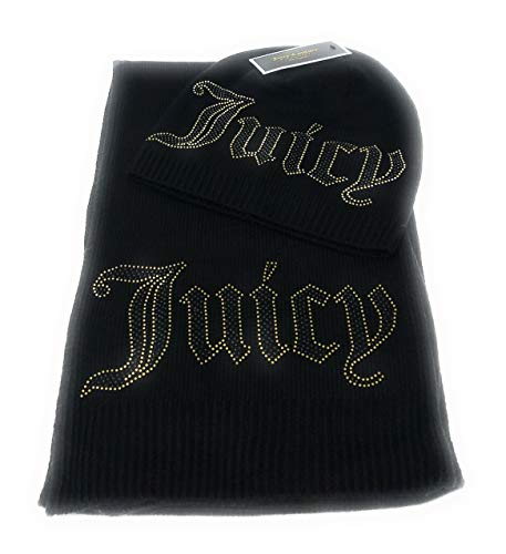 Juicy Couture Women's Jersey Knit Scarf & Hat Set,Black - Juicy Couture Designer Hats