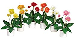 Nearly Natural 4600 Gerber Daisy Decorative Silk Plant with White Vase, Set of 6