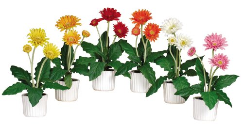 Nearly-Natural-4600-Gerber-Daisy-Decorative-Silk-Plant-with-White-Vase-Set-of-6