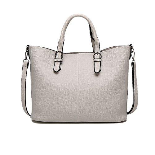 Mujer Nuevo Estilo Moda Retro Simplicidad Gran Capacidad Color Sólido Solo Hombro Grey