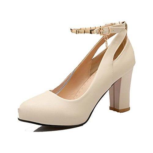 VogueZone009 Women's Solid Soft Material High-Heels Buckle Round Closed Toe Pumps-Shoes Beige