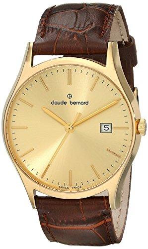 Claude Bernard Men's 53003 37J DI Classic Gents Analog Display Swiss Quartz Brown Watch