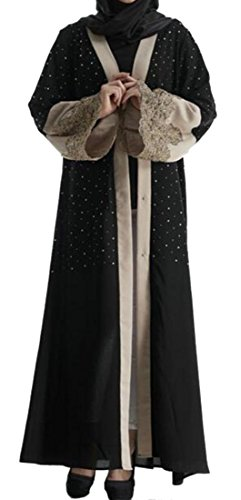 Etecredpow Ladies Rhinestone Muslim Embroideried Islamic Abaya Saudi Arabia Patchwork Dress Black Large