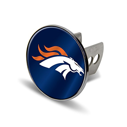 Rico NFL Denver Broncos Laser Cut Metal Hitch Cover, Large, Silver