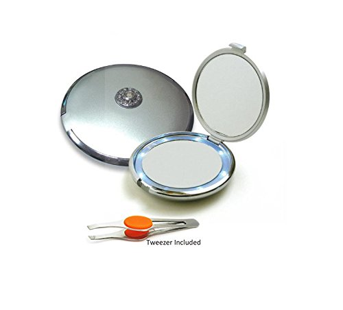 Silver Jeweled 10X/1X Compact Mirror Lighted two sided with Clear Crystals. Bonus: Stainless Steel Slant Tweezer (random color) (Jeweled Compact Mirror)