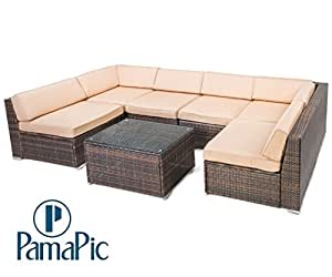 7 PCS Rattan Sectional Furniture Set, PamaPic Garden Lawn Sofa, Indoor-Outdoor Wicker Seat Cushioned Chair. Decoration for Patio, Backyard, Pool. (Brown)