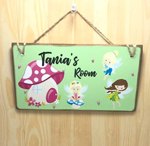 ed Fairy Room Sign Childrens Fairy Wall Name Plaque Fairy Decor Girls Name Sign Kids Personalised Room Plaque ()