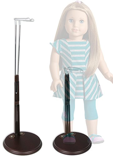 """Wooden Doll Stand Holder - Fits 18"""" Amercian Girl Dolls - White Vinyl Coated Metal with Adjustable Height Clasps - Fits Dolls and Action Figures 12"""" to 22"""" High - Set of 2 Stands"""