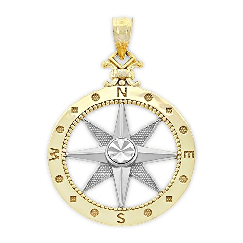 Charm America - Gold Two-Tone Compass Charm - 14 Karat Solid Gold Pendant