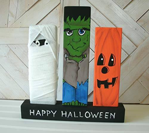 Halloween Monsters Decorations, Mummy Frankenstein Jack-O-lantern, Halloween Wood Decoration, Hand Painted, One of a Kind