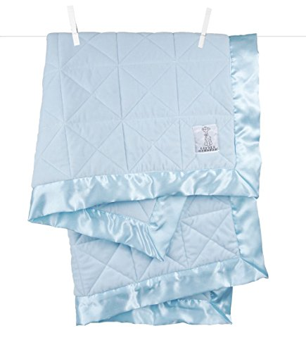 Little Giraffe Bliss Cross Quilted Blanket, Blue, 29