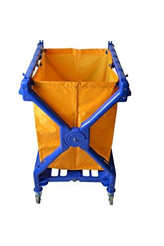 Janico 1054Carrito de lavandería, Amarillo Bolsa de vinilo incluida, plegable, X carro, Rolling Utility Cart, color azul