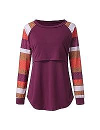 BIHSD Women's Maternity Nursing Tops Long Sleeve Striped Breastfeeding T-Shirt