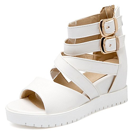 COOLCEPT Women Fashion Ankle Strap Sandals Open Toe Height Increasing Shoes White