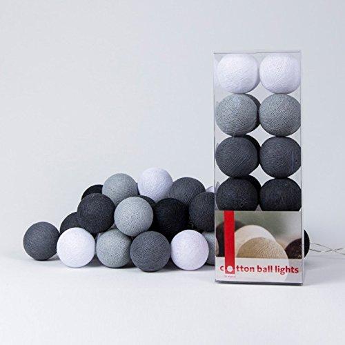 Cotton Ball Lights LED Lichterkette, Baumwolle, Weiß/Stein / Mid Grau/Anthrazit / Schwarz 716855431509