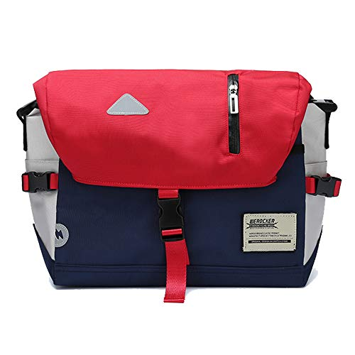 (Messenger Bag Unisex Backpack Nylon Satchel Shoulder Crossbody Messenger Bag School Work Sport Fits 14 Inch Laptop Messenger Bag Men & Women Water Resistant Reflective Mark (Red-white))