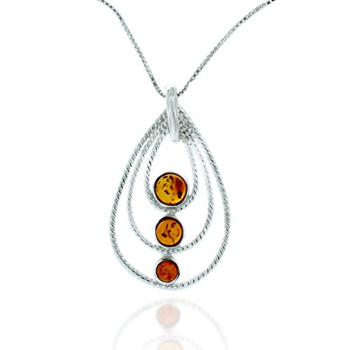 Chuvora Rhodium Plated 925 Sterling Silver Amber Gemstone Three Tier Teardrop Pendant Necklace, 18 inches