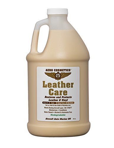 Leather Care, Conditioner, UV Protectant, Aircraft Grade Leather Care, better than automotive products. Excellent for Furniture, Car Seats & RV 's, does not leave dirt attracting residue. 64oz