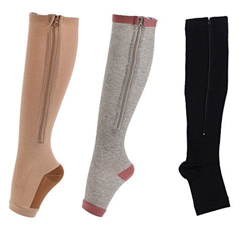 Easy On Zip compression Socks For Men Women With Toe Open Design Zipper Leg Support Knee-High ()