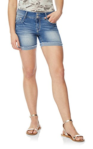 WallFlower Women's Juniors Luscious Curvy Midthigh Shorts in Laura, 1