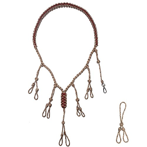 IUNIO Duck Call Lanyard Secures 5 Calls and Dog Whistle Military Grade 550 Paracord Hand Braided Adjustable Loops for Hunting Goose, Turkey, Deer, Predator, Duck Calls with an Extra Loop (Red/Brown)