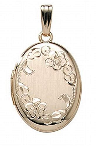 PicturesOnGold.com 14K Gold Filled Oval Locket - 3/4 Inch X 1 Inch WITH ENGRAVING