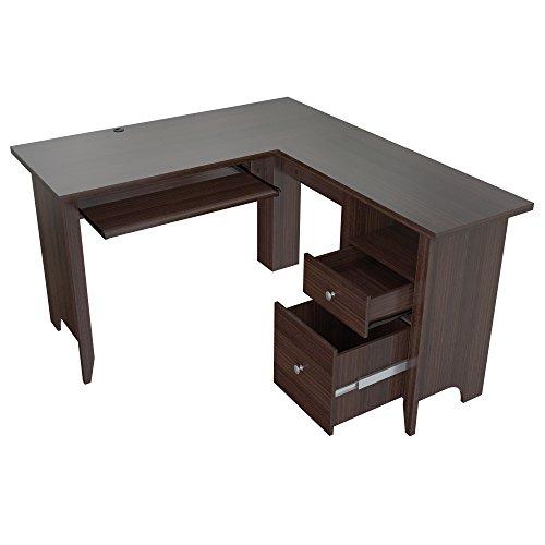 Inval ET-3815 L Shaped Computer Writing Desk, Espresso (Inval L Shaped Desk)