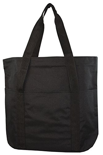 Large Spacious Poly Zipper Tote Bag Black Zipper Tote