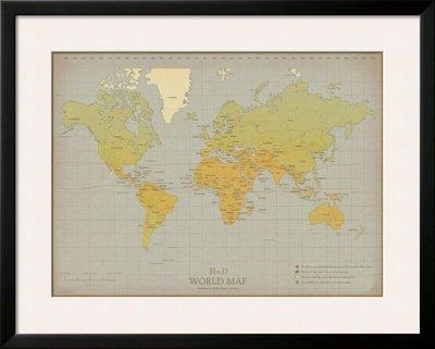 Vintage world map framed art poster print 35x28 amazon vintage world map framed art poster print 35x28 gumiabroncs Gallery