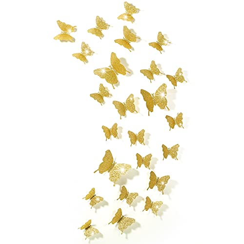 Espejos mariposas 3D 48 unidades doradas con glitter