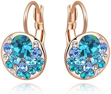 ZSDIER オーストリアのファッションクリスタル合金素材ローズゴールドブルーダイヤモンド耳クリップドレスマッチングラウンドメッ