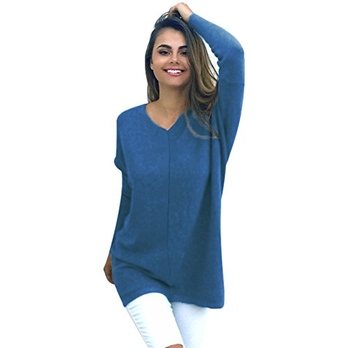 Fudule, Long Sleeve Sweaters for Women V Neck Shirts Girls Knitted Pullovers Solid Tunics Casual Blouses Tops
