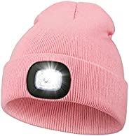 Unisex LED Beanie Hat with Light, USB Rechargeable Hands Free Headlamp Warm Knitted Cap, Women Men Gifts for C