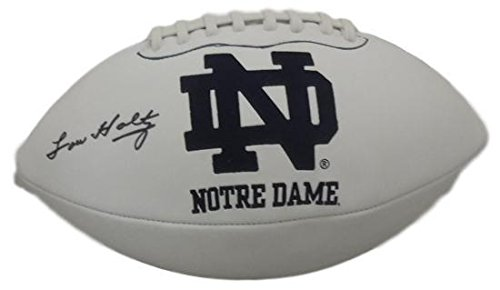Lou Holtz Autographed Notre Dame Fighting Irish Logo Football JSA