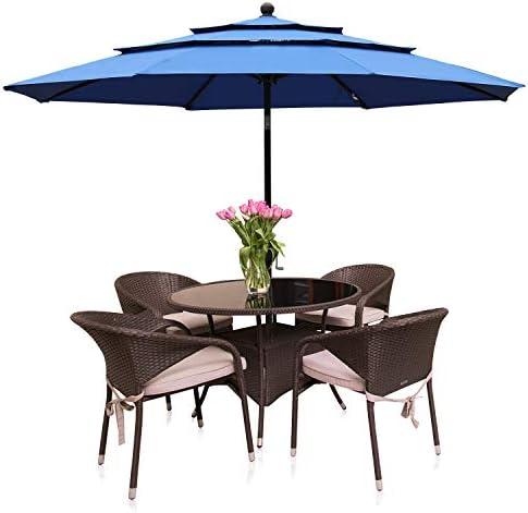 Aoodor Patio Umbrella 10 ft. Dining Table Outdoor Market Umbrella 3 Tier Ventilation