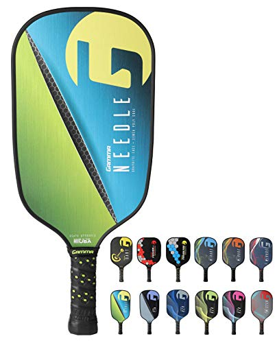 - Gamma Needle Elongated Pickleball Paddle: Pickle Ball Paddles for Indoor & Outdoor Play - USAPA Approved Racquet for Adults & Kids - Pink/Blue