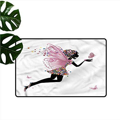 HOMEDD Outside Doormat,Fairy Floral Dressed Angel,Bathroom