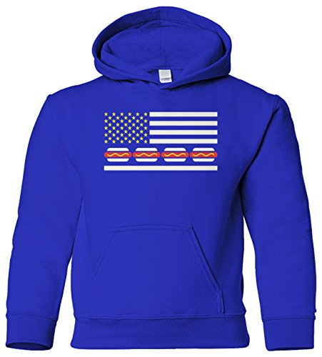 Threadrock Kids Hot Dog American Flag Youth Hoodie Sweatshirt M Royal (Child Hot Dog Hoodie)