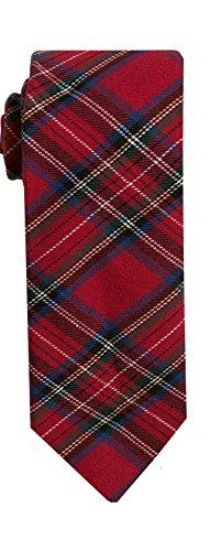 (SPREZZA Men's Plaid Tie Tartan Red Classic 2.75 inch Slim Cotton Necktie)