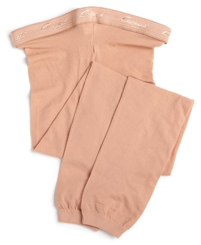 (Capezio Big Girls' Hold & Stretch Footless Tight Socks, Light Suntan, Medium)