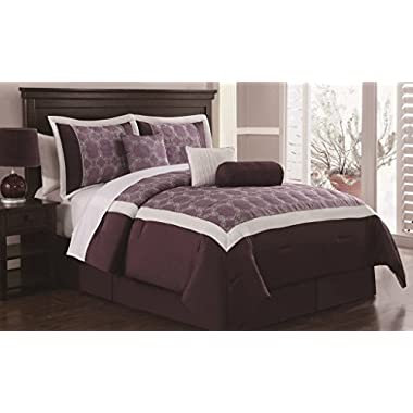 7 Piece King Barclay Plum/Ivory Embroidered Comforter Set
