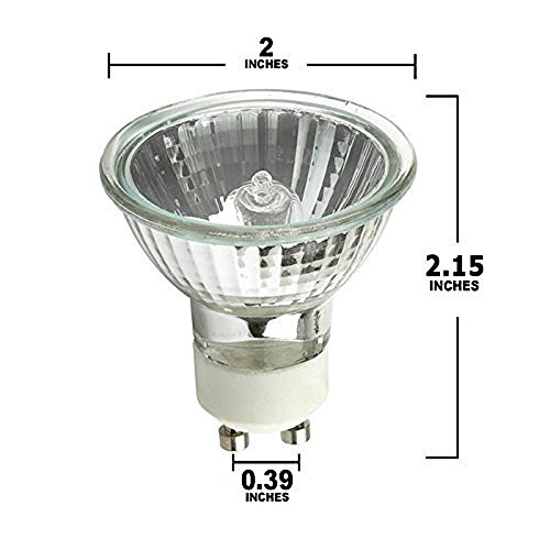 Pack of 6 - 50 Watt, GU10 Base, 120 Volt, MR16 With UV Glass Cover, Halogen Flood Light Bulb, Q50MR16/FL/GU10