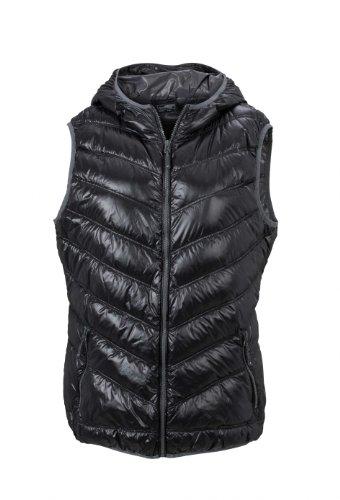 grey Bodywarmer 2store24 Mujer Alcochado Black Capucha Con Pelusa 10U60w