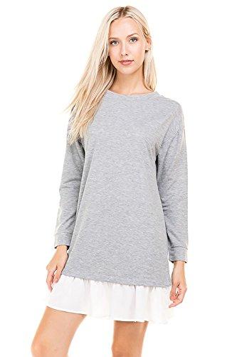 SHOPGLAMLA Oversized Loose Fit Side Pocket Tunic Sweatshirts Pullover Top Ruffle Bottom - French Terry Tunic - H.Grey (Terry Pullover Top)