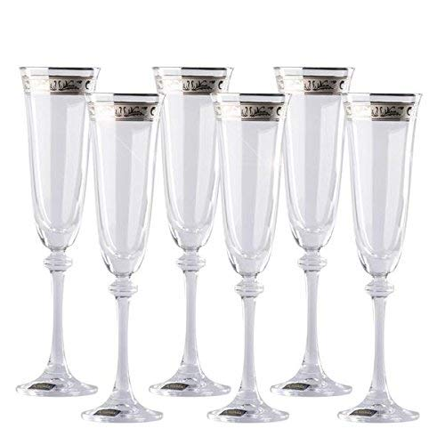 (Decorated Champagne Flutes Set of 6 / Tall, Wedding and Toasting Crystal Glasses /  Platinum Rimmed Decor / 6.42 ounces (190 milliliters))